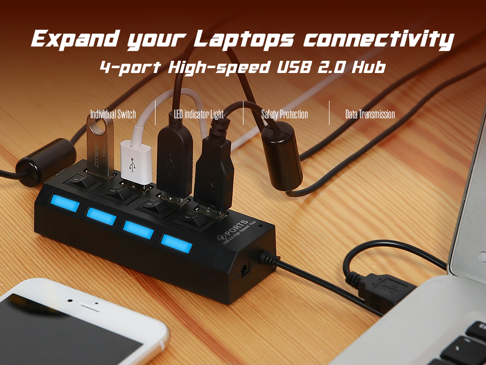 4-port USB 2.0 Hub 480Mbps with On / Off Switch for PC / Laptop