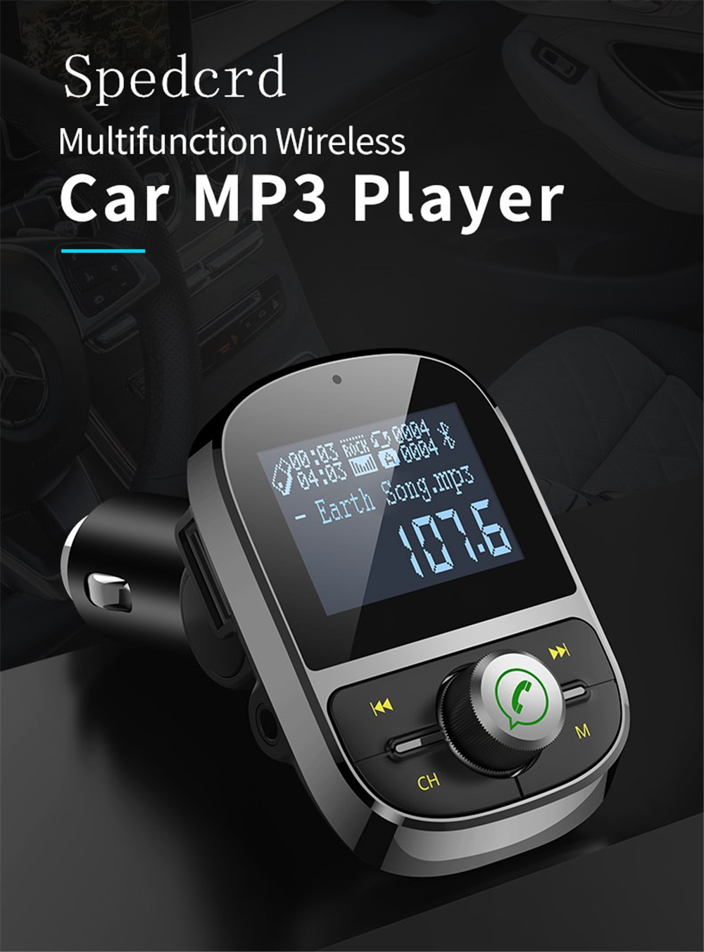 SpedCrd HY92 Bluetooth FM Transmitter Car MP3 Player 3.1A USB Charger