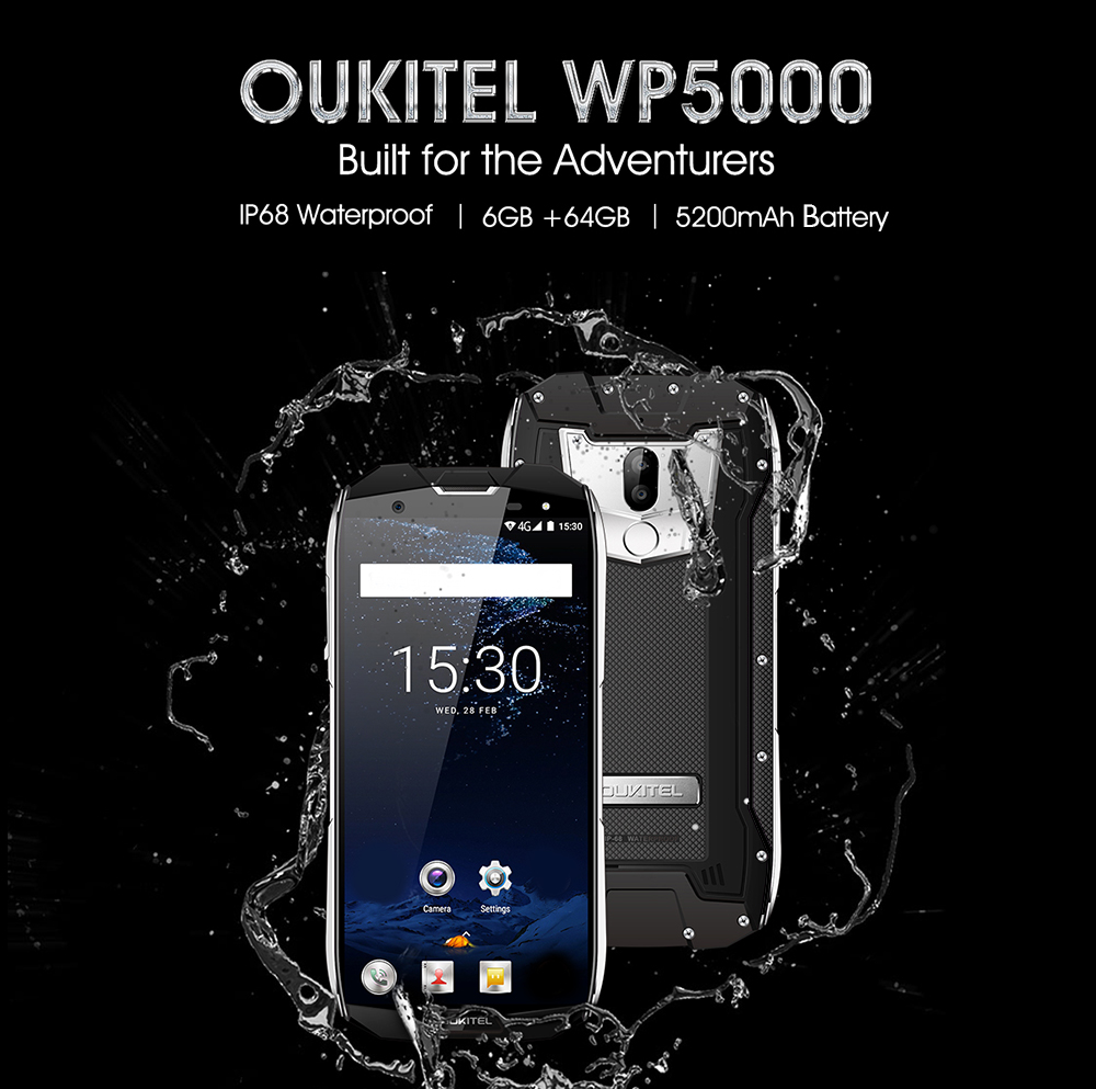 OUKITEL WP5000 4G Phablet 5.7 inch Android 7.1 Helio P25 Octa Core 2.5GHz 6GB RAM 64GB ROM IP68 Waterproof Dual Rear Cameras Fingerprint Recognition- Black