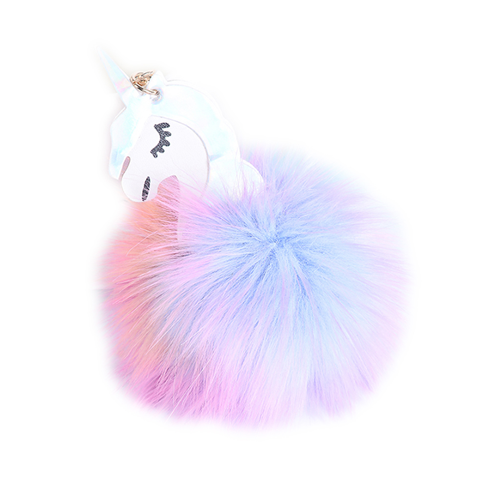 Creative Animal Keychain for Women Creativity Fur Ball Pompom Pendant Keychains- Multi-A