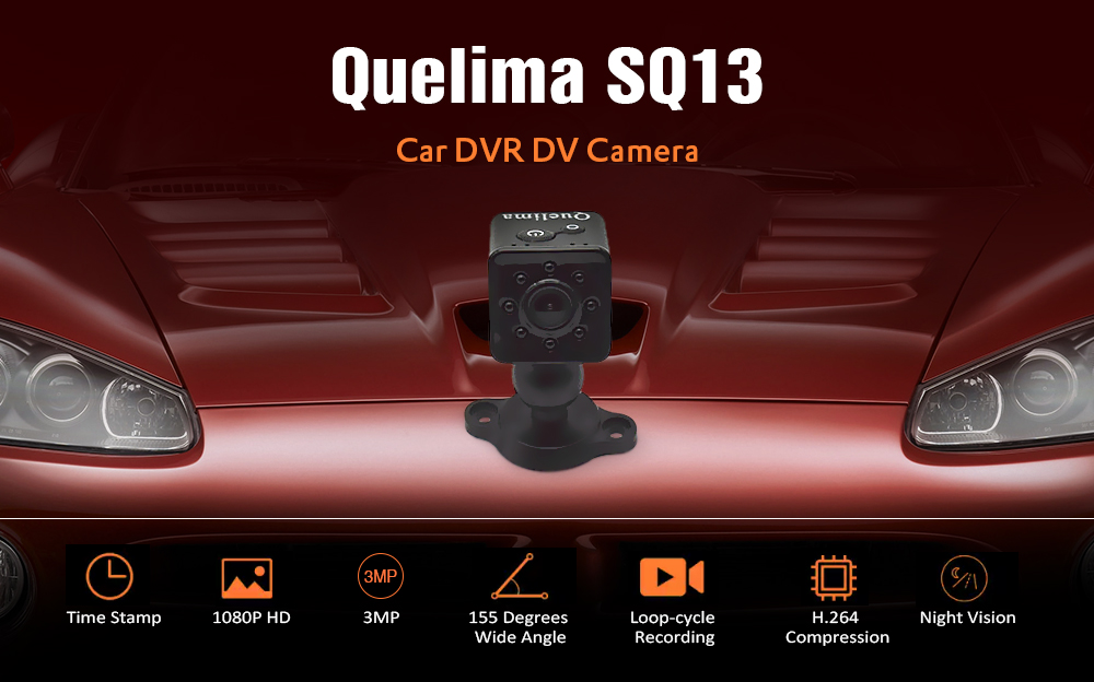 Quelima SQ13 Mini HD 1080P WiFi Micro Camera Lens Recorder Car DVR DV