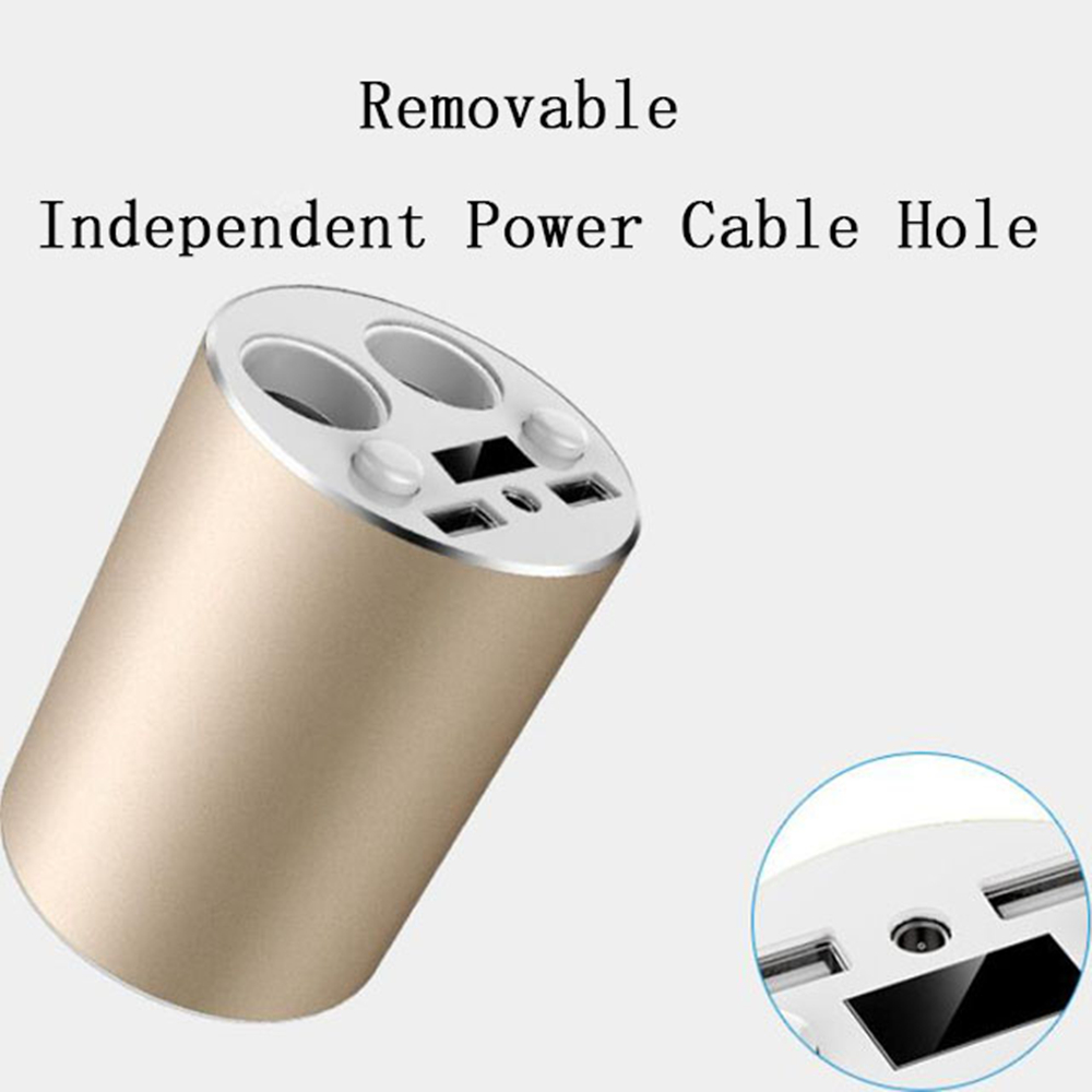 Multi-function Power Adapter Dual USB Car Cup Charger for Smartphones