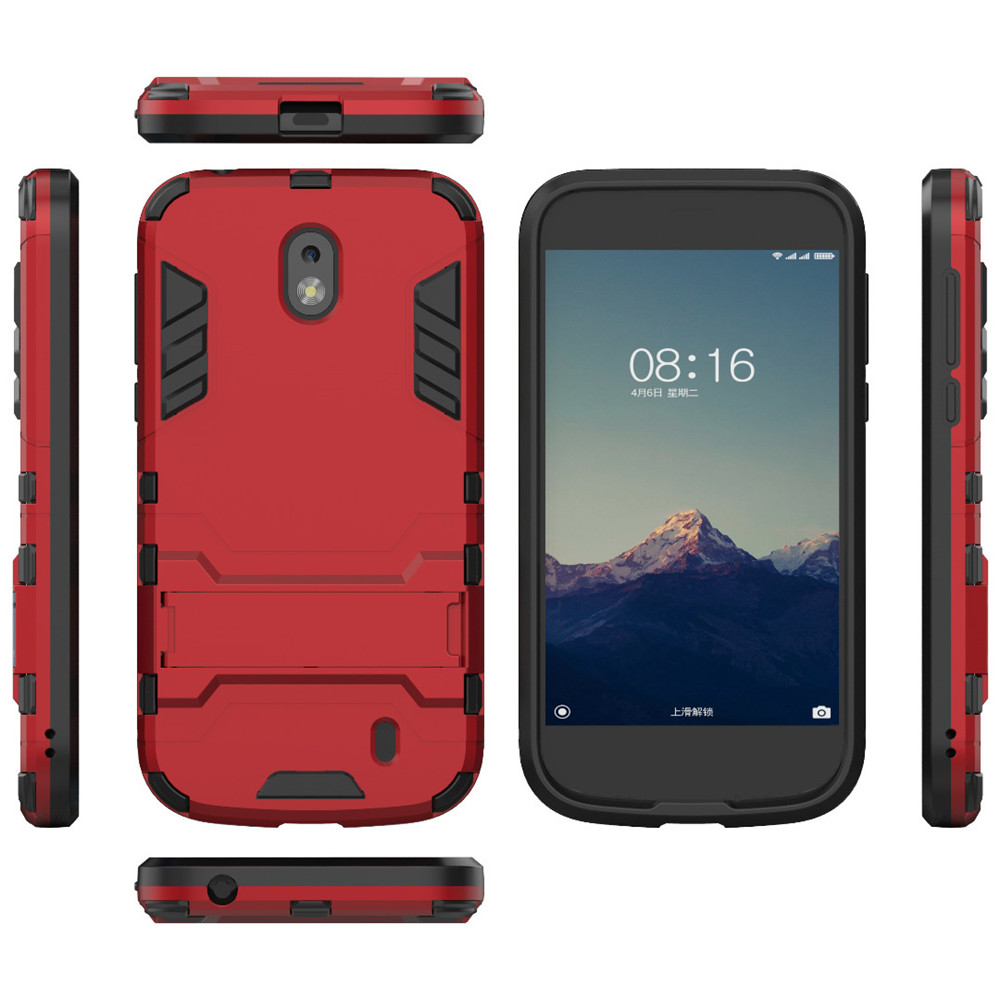 buy online 05459 88fa2 Case for Nokia 1 2018 Shockproof Solid Color Hard PC with Stand Back Cover