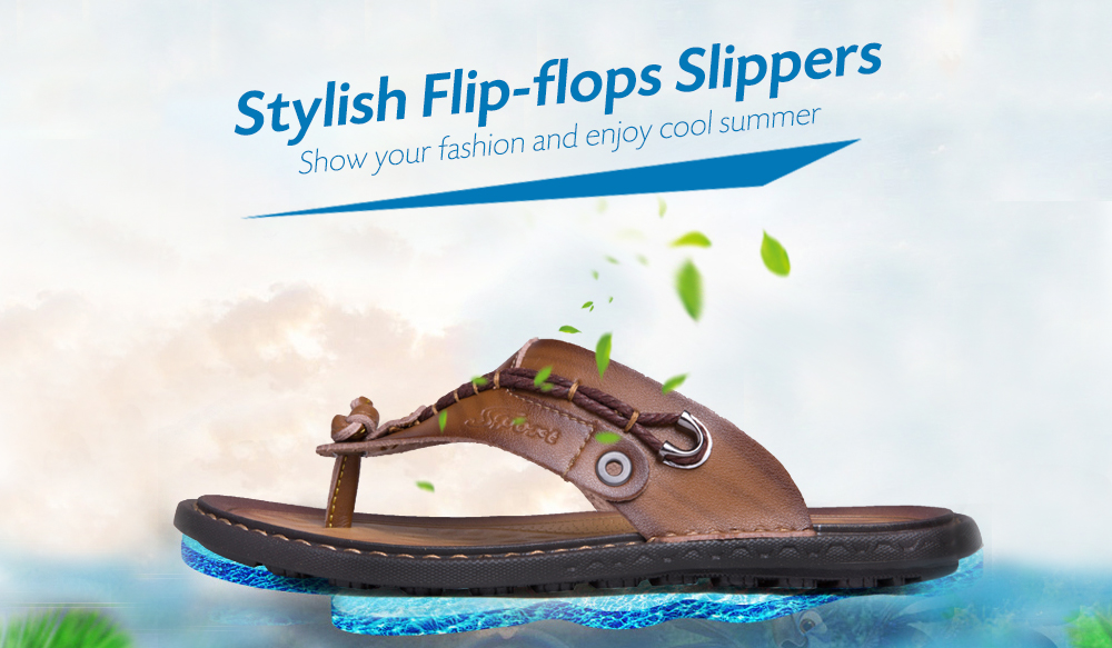 Stylish Breathable Microfiber Leather Flip-flops Slippers for Men