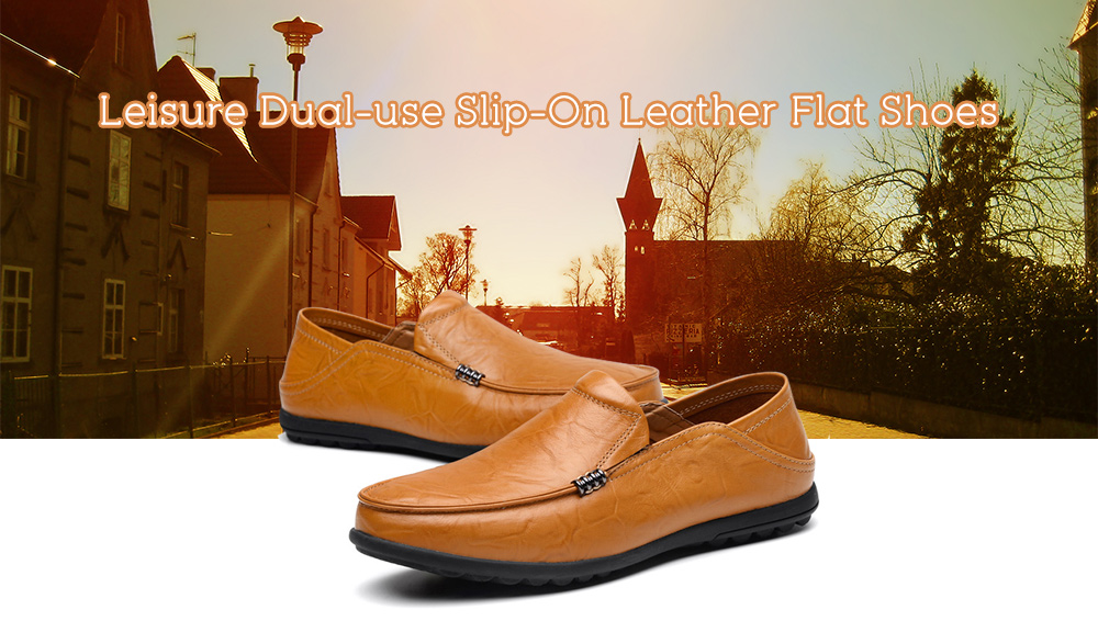 Leisure Breathable Slip-On Leather Flat Shoes for Men