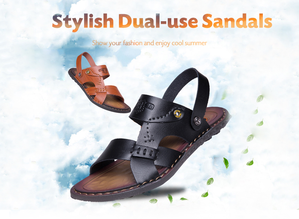 Stylish Hollow-out Dual-use Microfiber Leather Sandals for Men