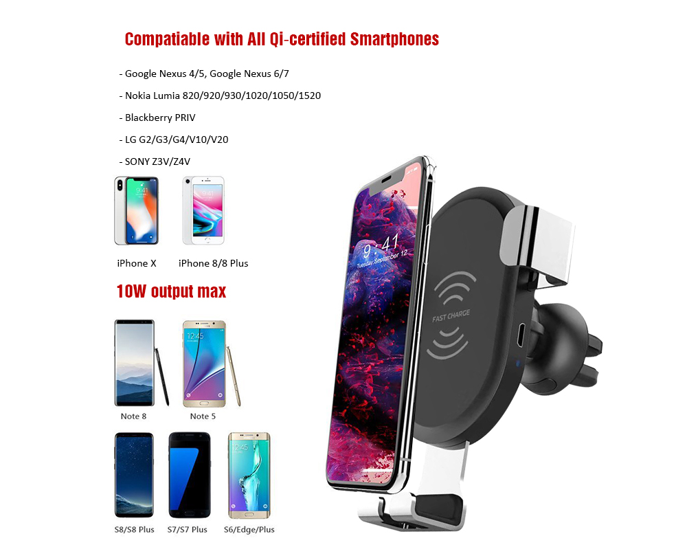 BQ001 Gravity Auto-clamping Air Vent Car Phone Mount Holder with Wireless Charging Function- Black