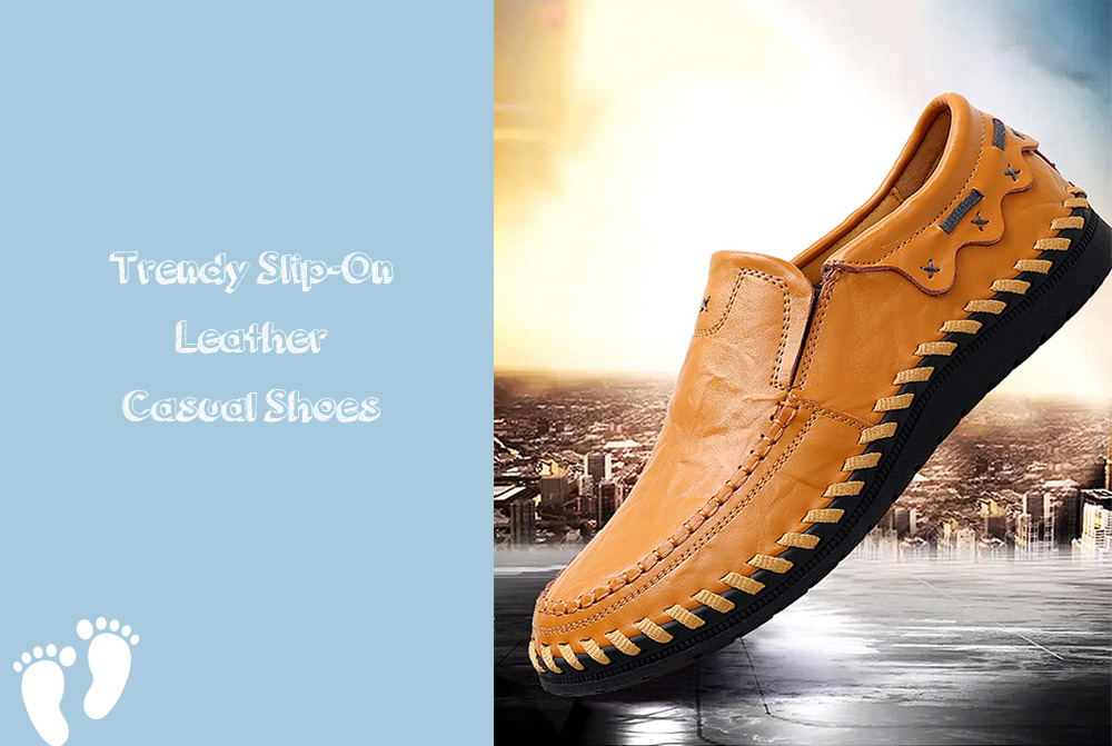 Trendy Handcrafted Slip-On Leather Casual Shoes for Men