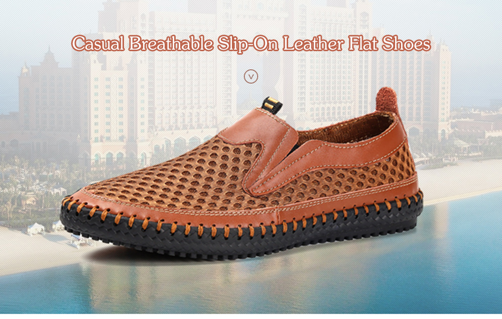 Casual Breathable Slip-On Leather Flat Shoes for Men
