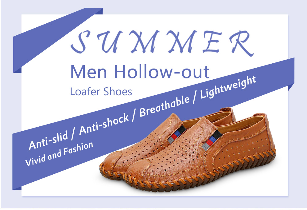 Men Plus Size Leisure Hollow out Leather Loafer Shoes