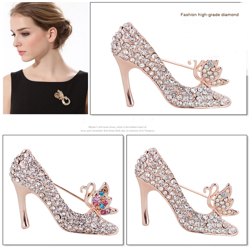 Fashion Brooch Jewelry Clothing High-Heeled Korean Tide Product Pin- Multi