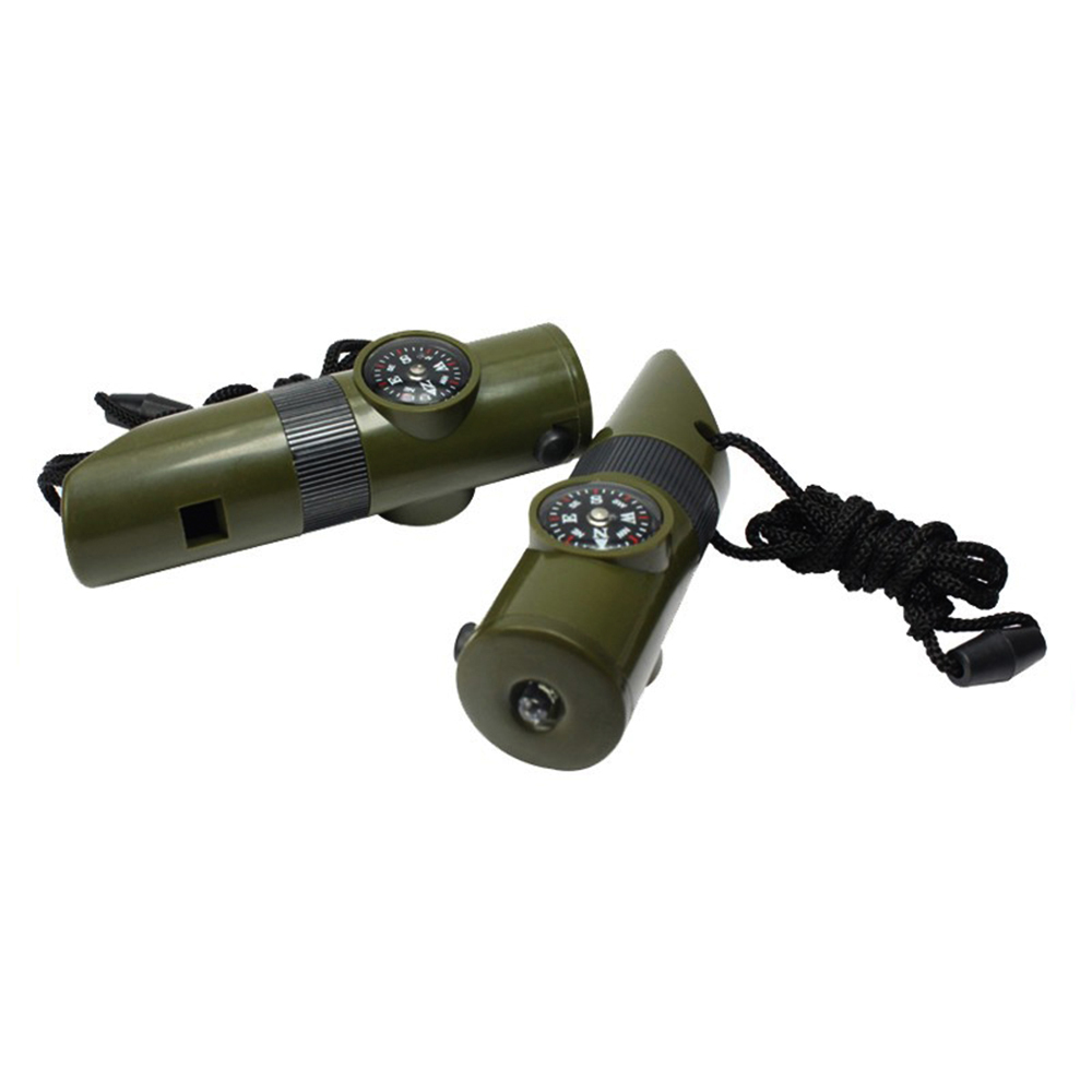 7-in-1 Outdoor Sports Multi-Purpose Rescue Plastic Whistle with Compass