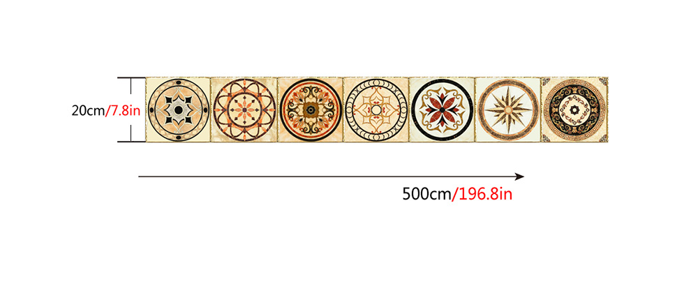 Atbo - 030 Imitation Gold-plated Retro Round Pattern Tile Sticker