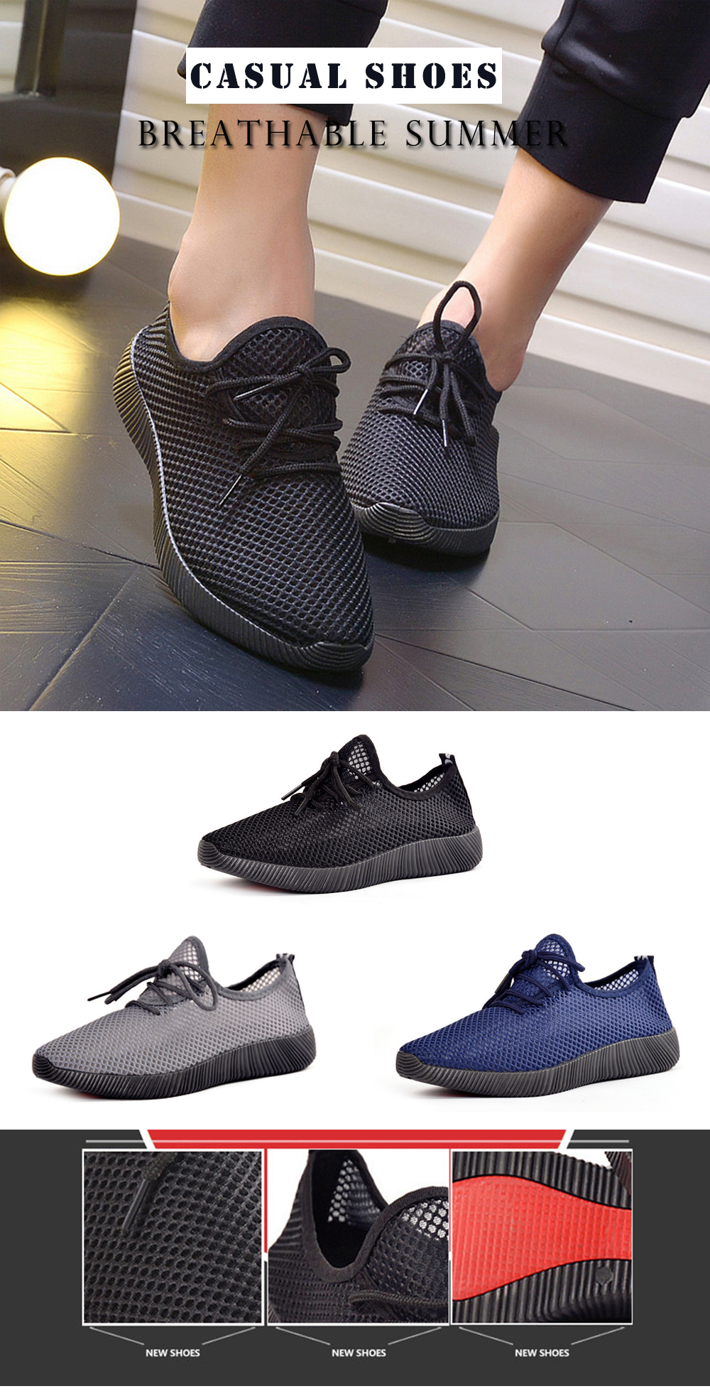 Summer Casual Mesh Breathable Shoes Comfort Running Sneakers for Men
