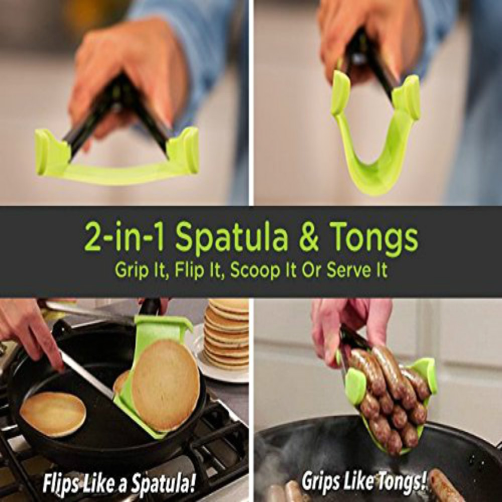 Kitchen Spatula and Tongs Non-stick Heat Resistant- Green