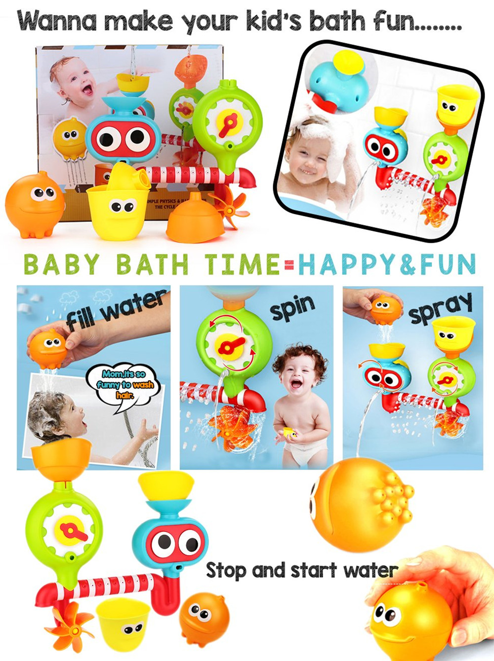 Creative Waterfall Water Station Bath Tub Toy for Children