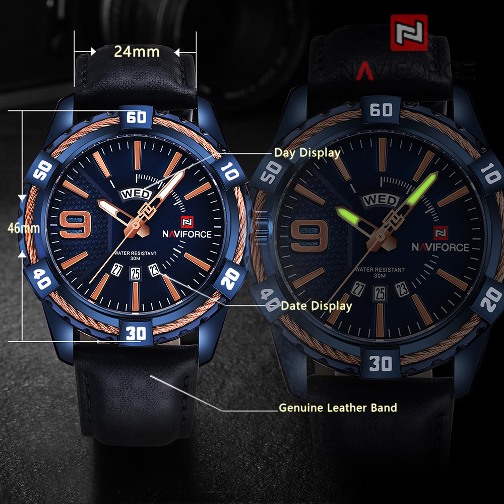 Naviforc 9117L Men Waterproof Sports Leather Band Watch