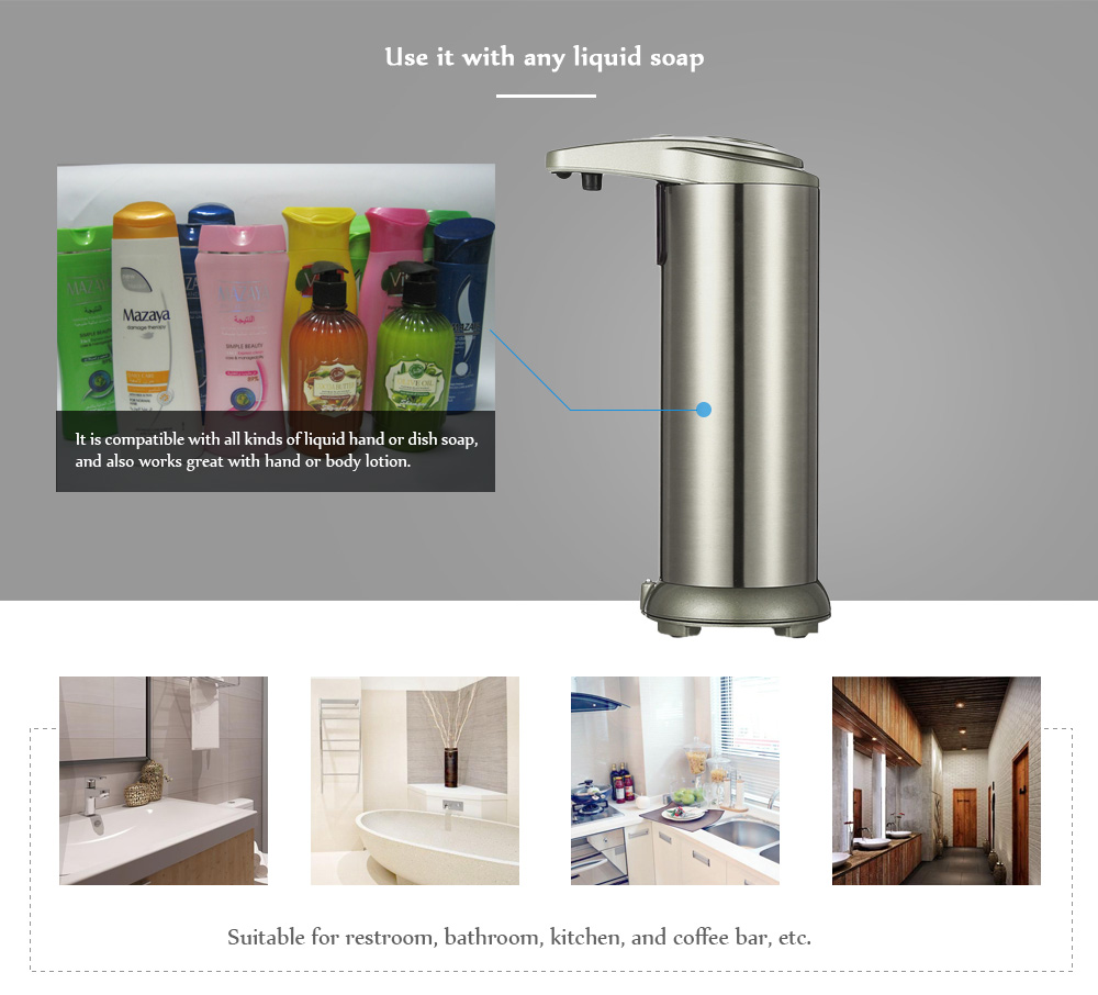 Smart Contactless Liquid Soap Dispenser Waterproof Base Automatic Infrared Motion Sensor - Army Brown