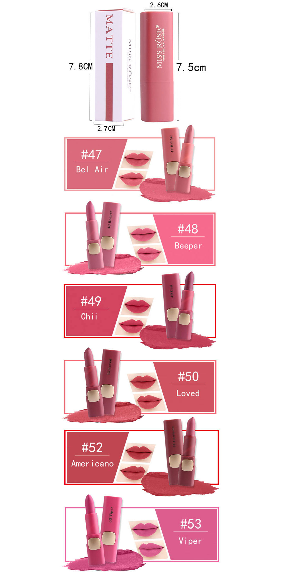 MISS ROSE New Long Lasting Lip Stick with Vivid Color for Girls