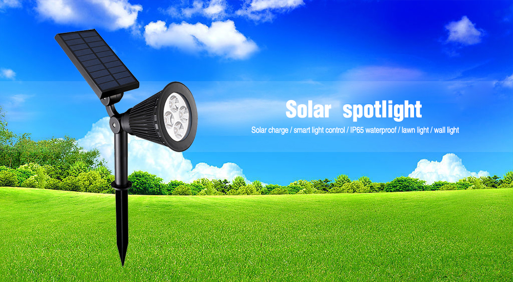 BRELONG 4LED Solar Spotlight Outdoor Courtyard Sensor Lawn Lighting