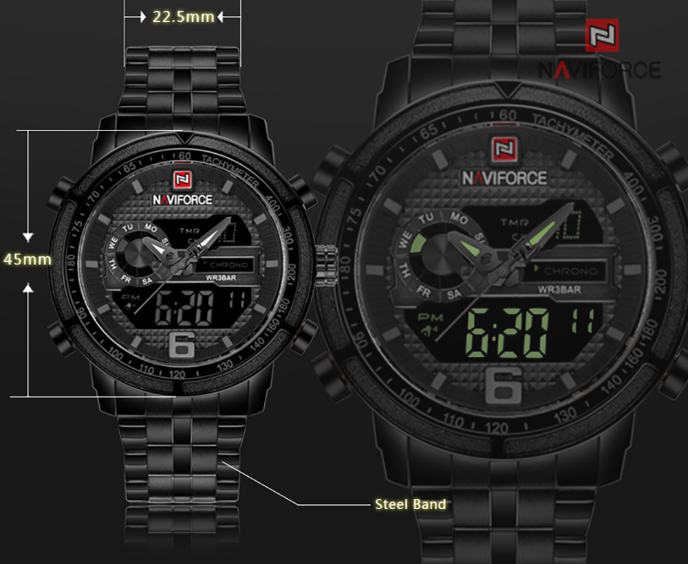 NAVIFORCE Men Sport Army Military Quartz Digital Wrist Watches