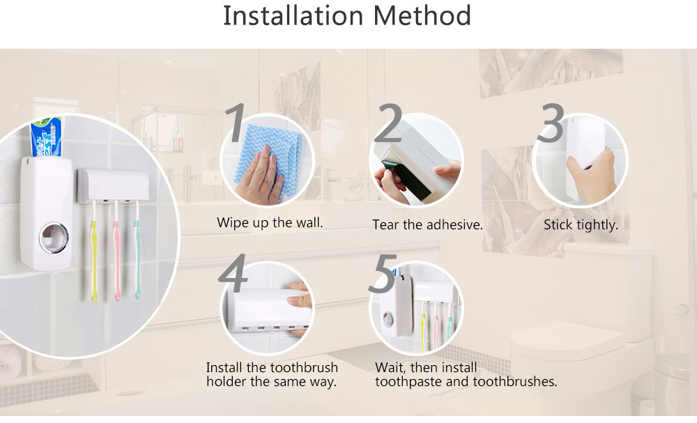 Auto Toothpaste Dispenser Squeezer Set with Wall Mount Toothbrush Holder Creative Bathroom Tool- White