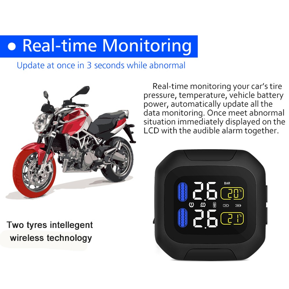 Motorcycle Tpms Digital Real Time Lcd Alarm Monitor Rs437863 Free Battery External Display Multi Function Tire Pressure With 2 Sensors