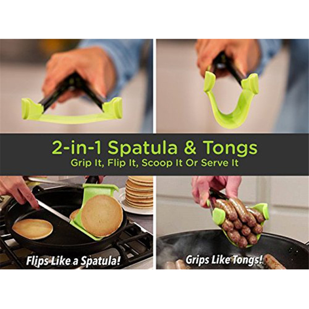 Set Clever Tongs Kitchen Spatula And Tong Non Stick Heat Resistance 2 in 1- Jade Green