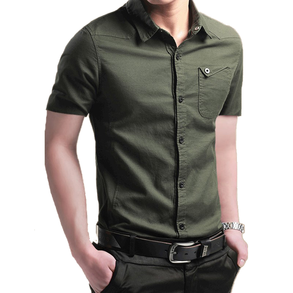 Men's Simple Cotton Military  Plus Size Short Sleeve Shirt