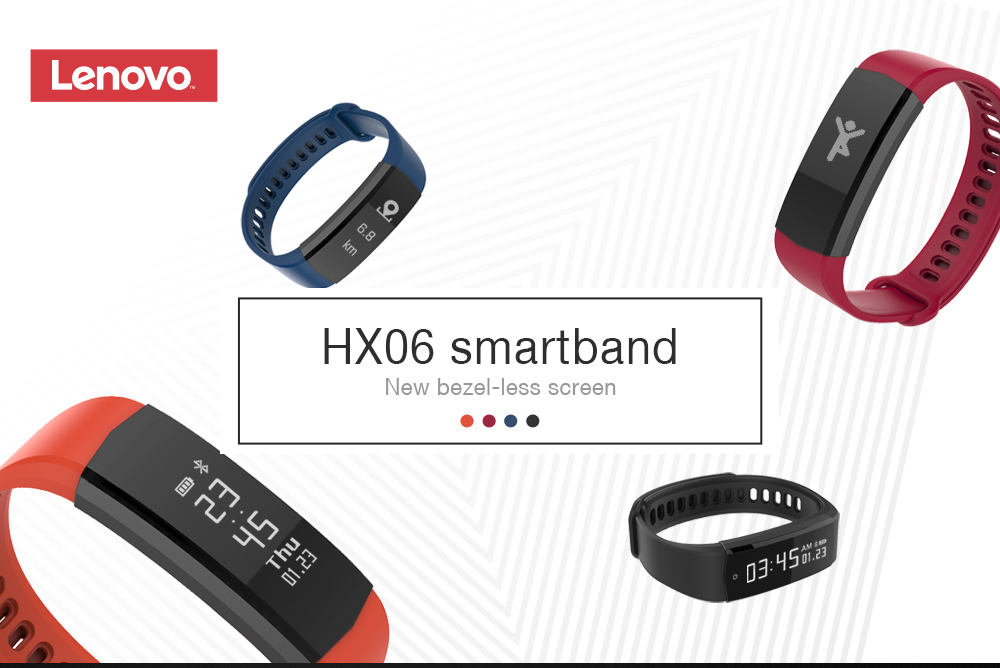 Lenovo HX06 Smart Wristband Bezel-less Screen Fitness Tracker- Black