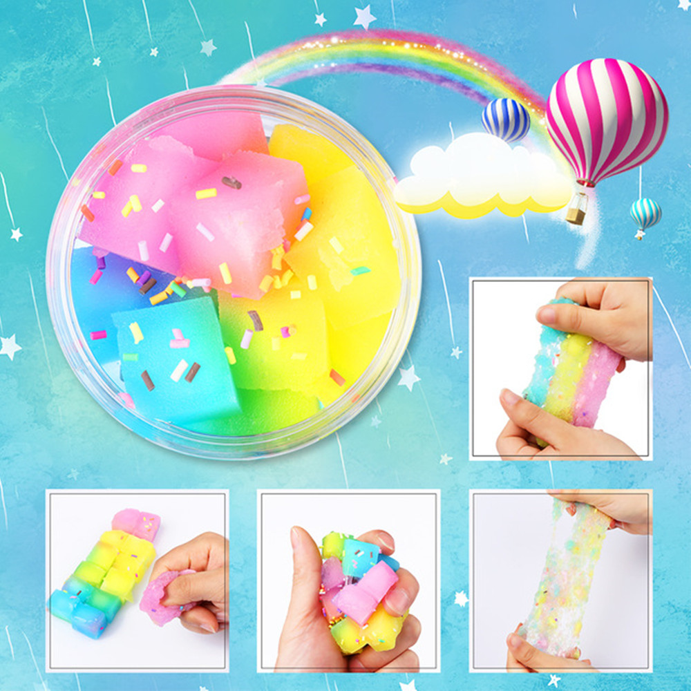 Creative DIY Rainbow Crystal Mud Stress Relief Toy