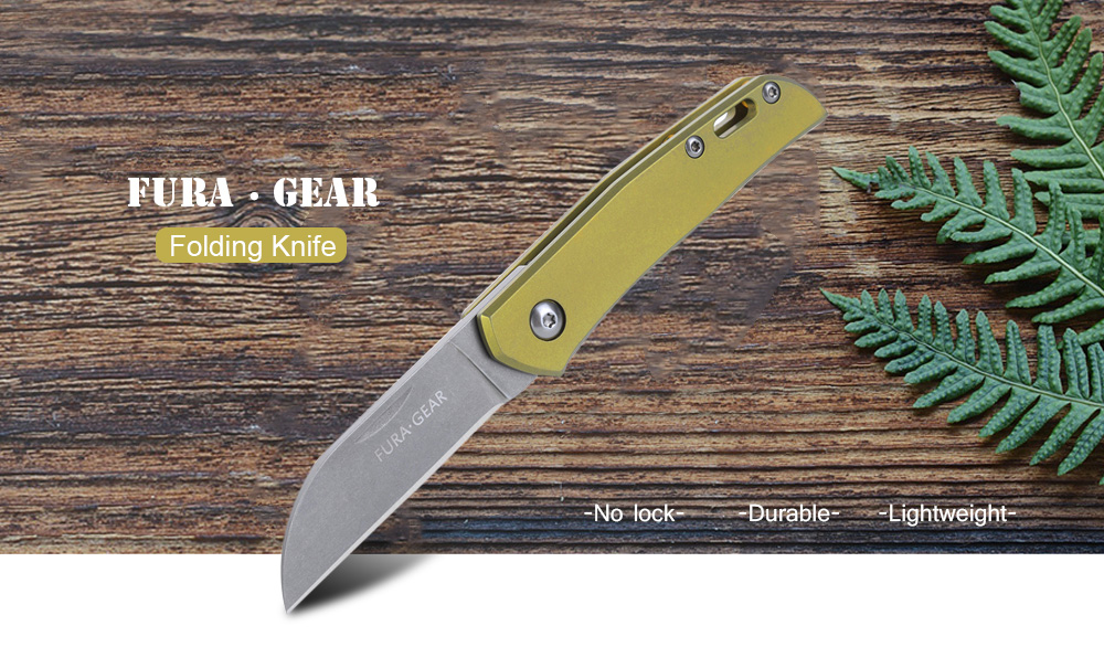 FURA GEAR S35VN Powder Steel No Lock Folding Knife for Camping Hiking