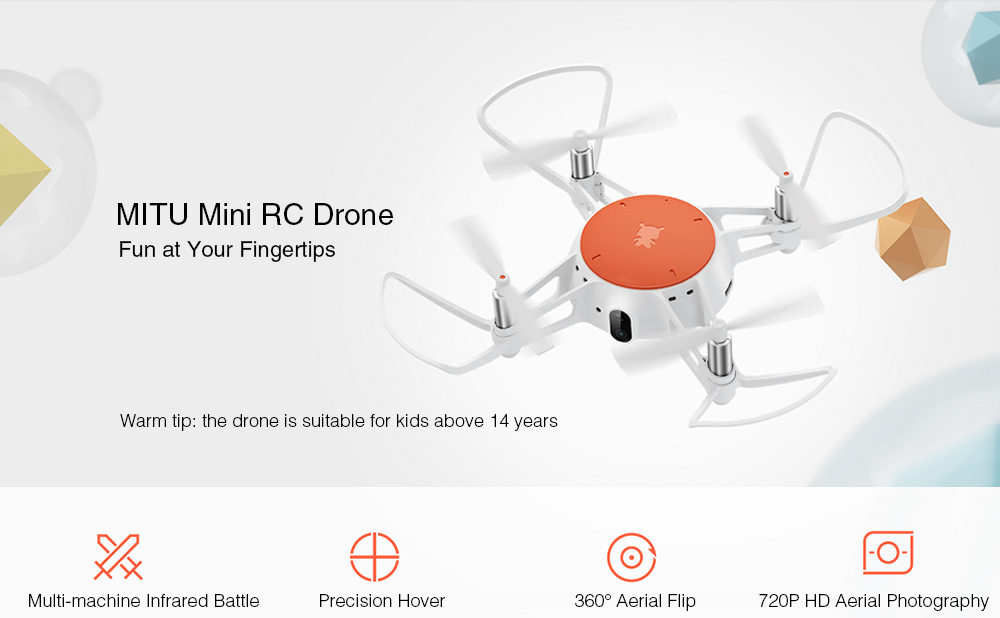 Xiaomi MiTU WiFi FPV 720P HD Camera Multi-machine Infrared Battle Mini RC Drone - BNF- White