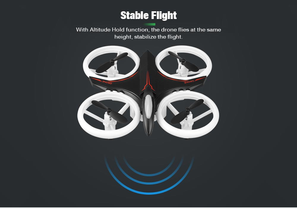 GS - XXD158 - YW Altitude Hold One Key Takeoff / Landing Light Propeller Protection RC Drone - Black