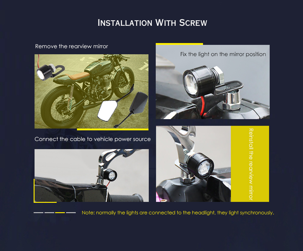 YKT - AB234 Universal Water-proof LED Rearview Mirror Headlight Spotlight for Motorcycle 2pcs- Black