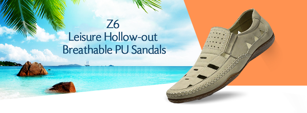 Z6 Leisure Hollow-out Breathable PU Leather Sandals for Men
