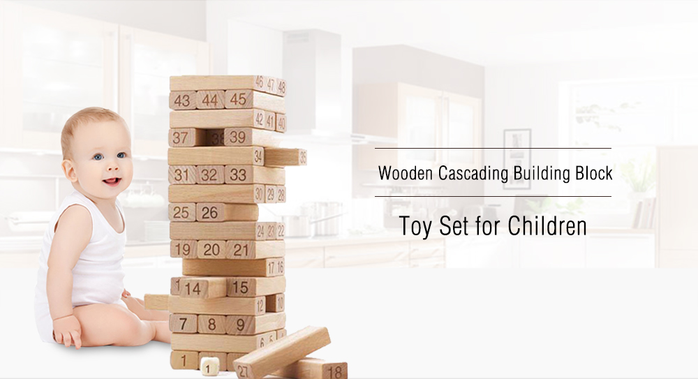 Wooden Cascading Building Block Toy Set for Children