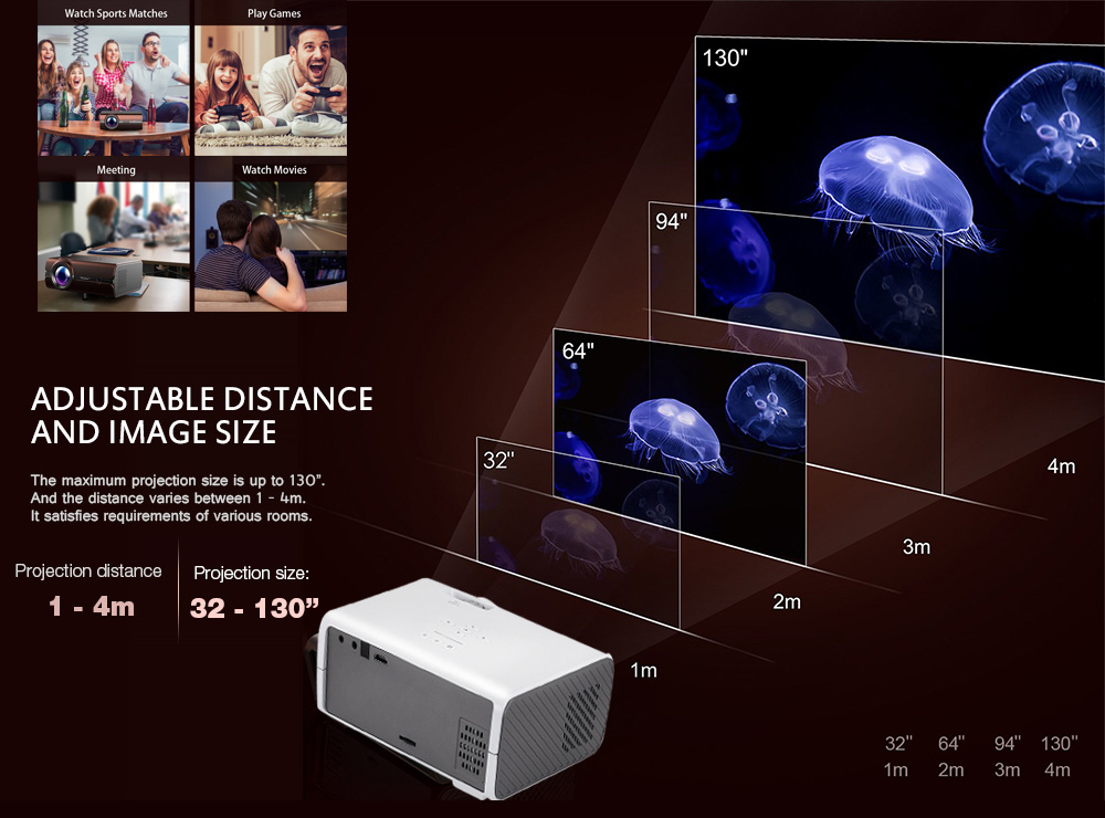 Alfawise A11 LCD 2000 Lumens Home Theater Mini Projector Support HD 1080P HDMI VGA AV USB Xbox for Laptop- White EU Plug ( Without OS )