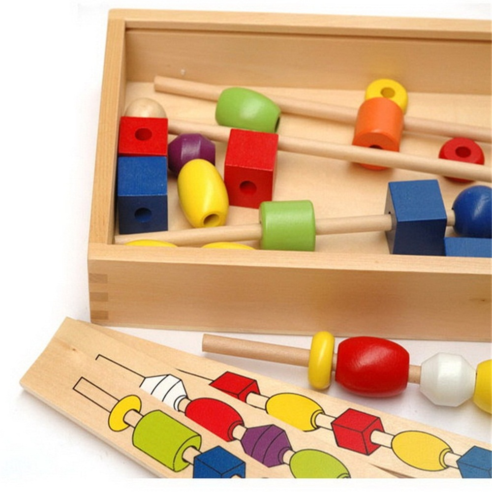 Wooden Intellectual Early Childhood Toys Shape Color Montessori Beads