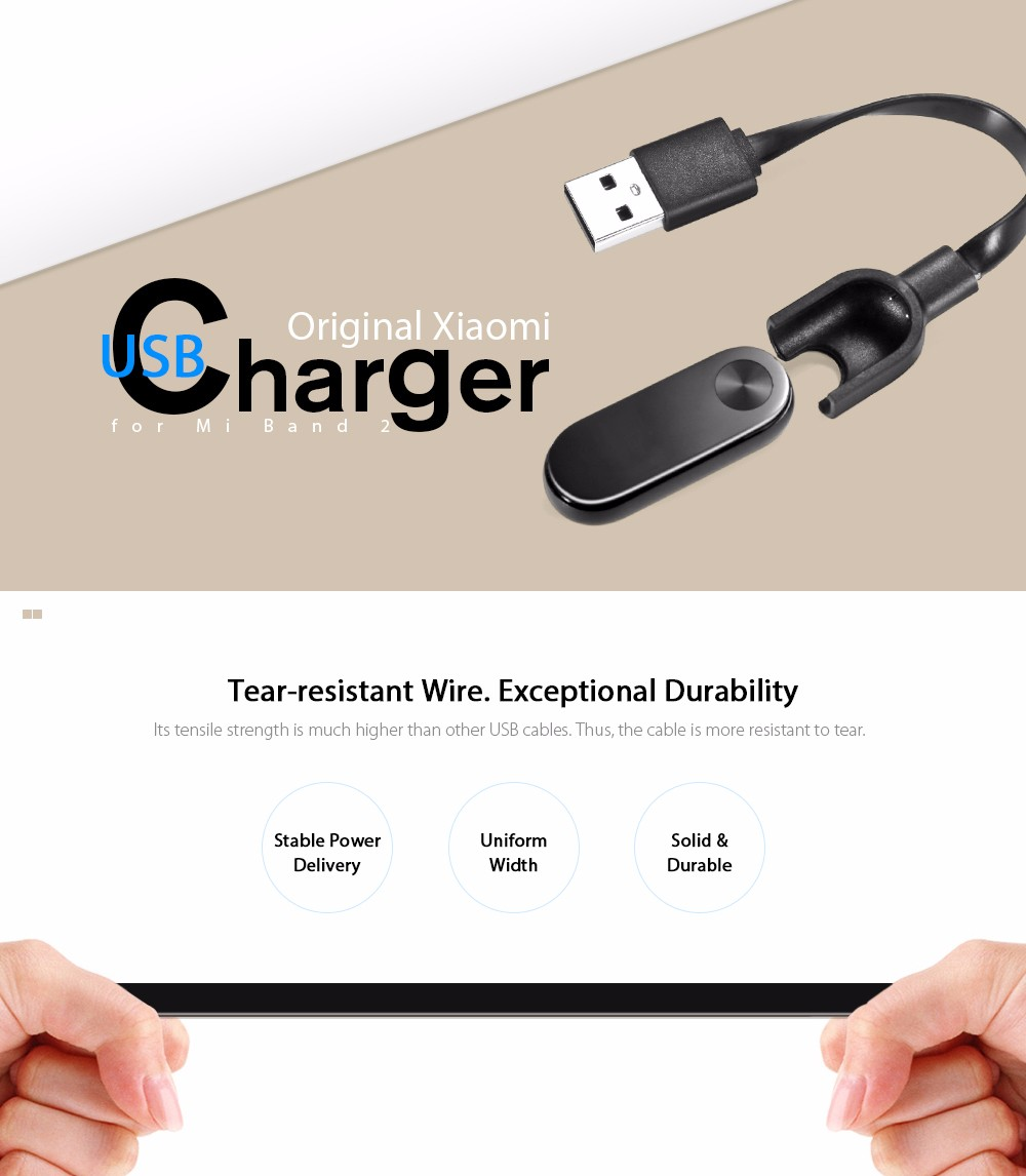 Charging Cable with 14cm Length for Xiaomi Mi Band 2- Black