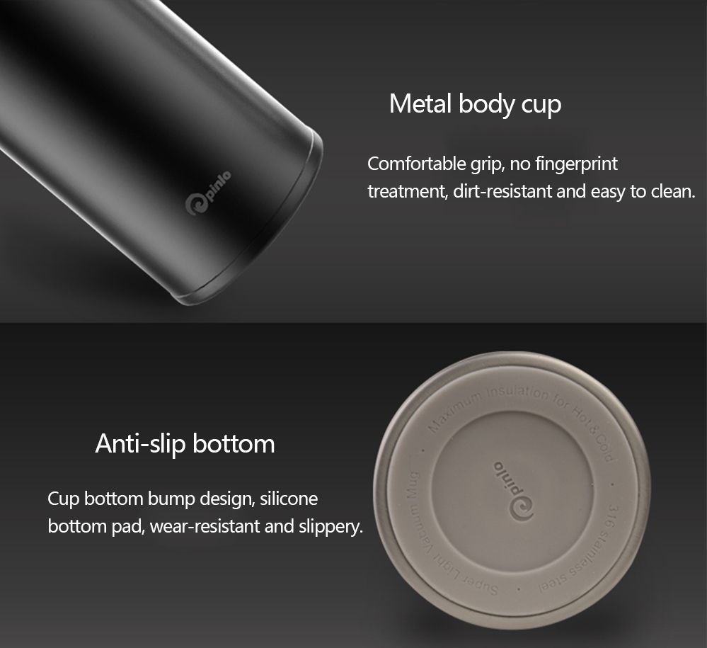 Pinlo Pro 480ML Vacuum Insulation Water Bottle from Xiaomi youpin- Silver