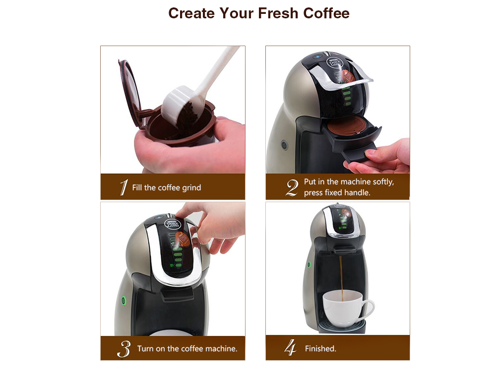 Refillable Dolce Gusto Coffee Capsule with Spoon 2PCS - Brown Pack of 2