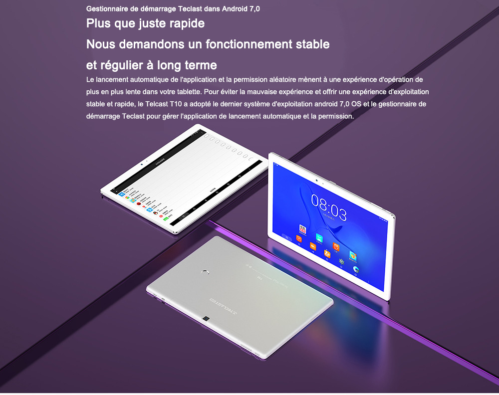 10, 1 pouces Android 7, 0 MTK8176