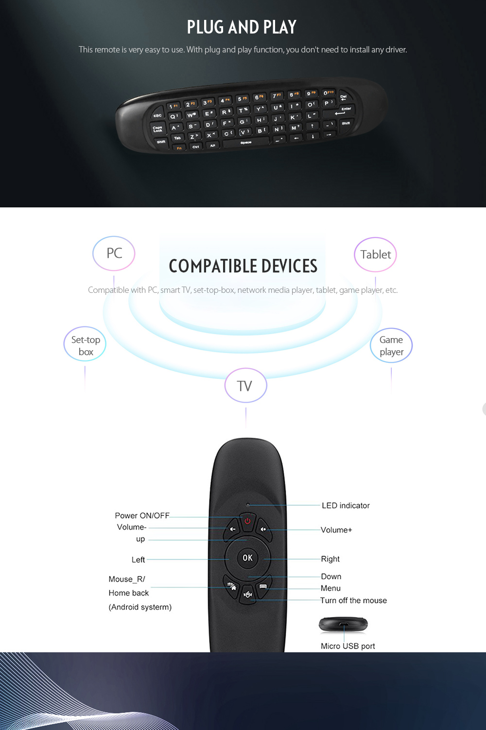 Tk668 24ghz Wireless Air Mouse 999 Free Shipping Micro Usb Wiring Diagram Remote Controller Qwerty Keyboard With Led Indicator