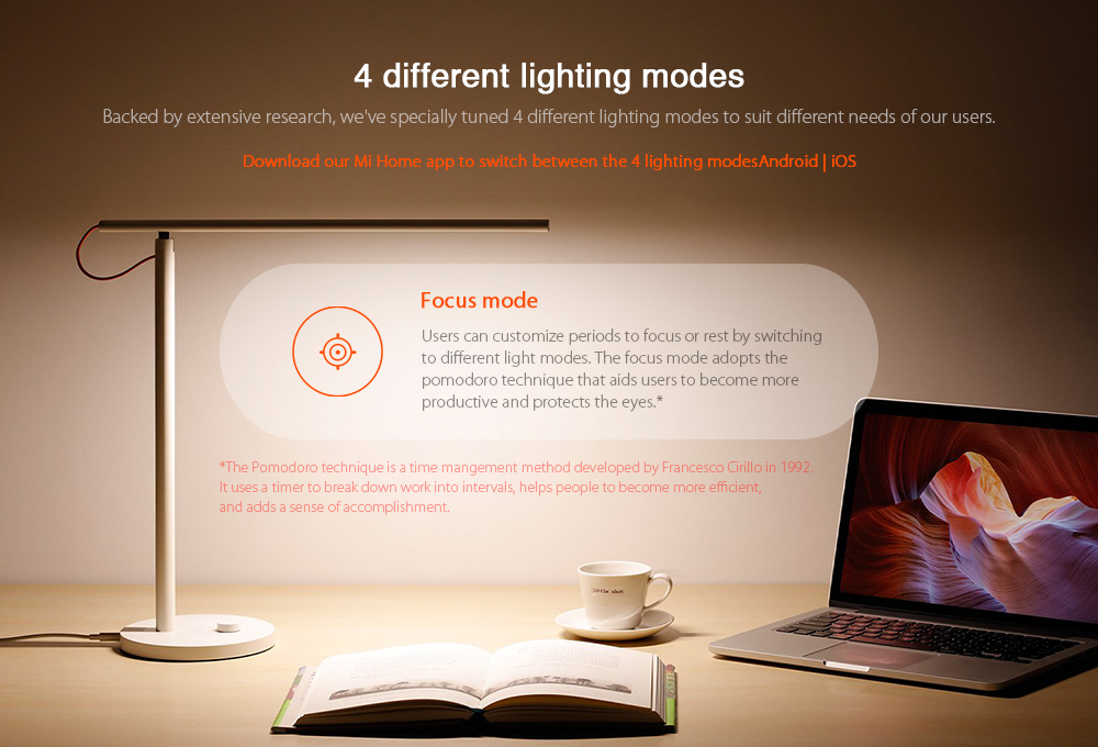 Xiaomi Mija MJTD01YL Smart LED Desk Lamp Flicker-free Intelligent Dimming 4 Lighting Modes- White Chinese Plug (2-pin)