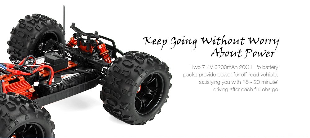 DHK HOBBY 8382 Maximus 1:8 2.4GHz Brushless RC Monster Truck RTR 80km/h / Waterproof HOBBYWING 120A ESC / Double 3200mAh LiPo Batteries- Black and Orange