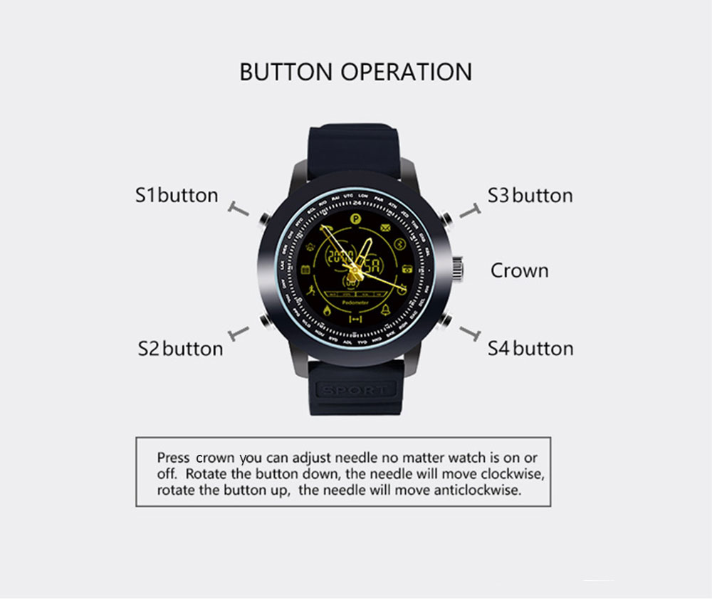 AOWO DX18 Smart Watch Bluetooth Digital 5ATM Waterproof Call SMS Notification Sports Wristband for Android iOS- Black
