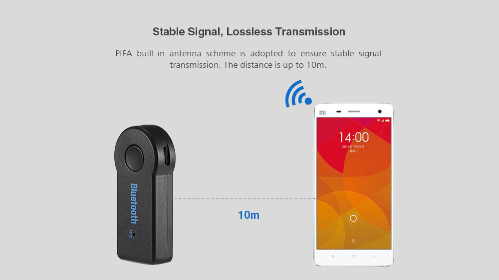 TS-BT35A08 Bluetooth3.0 Car Handsfree Audio Music Receiver 3.5mm with Microphone
