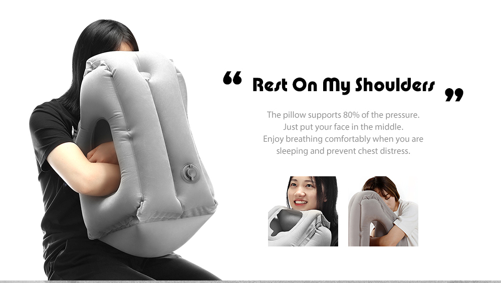 Frontal Travel Pillow Inflatable Air Bolster Comfortable Sleep  on Plane- Black