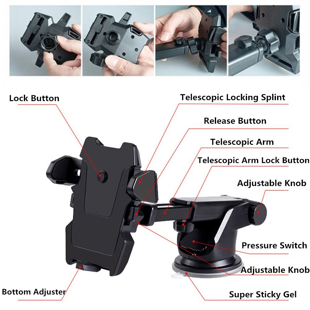 Universal Car Windshield Dashboard Suction Cup Mount Holder Stand for Cell Phone- Black